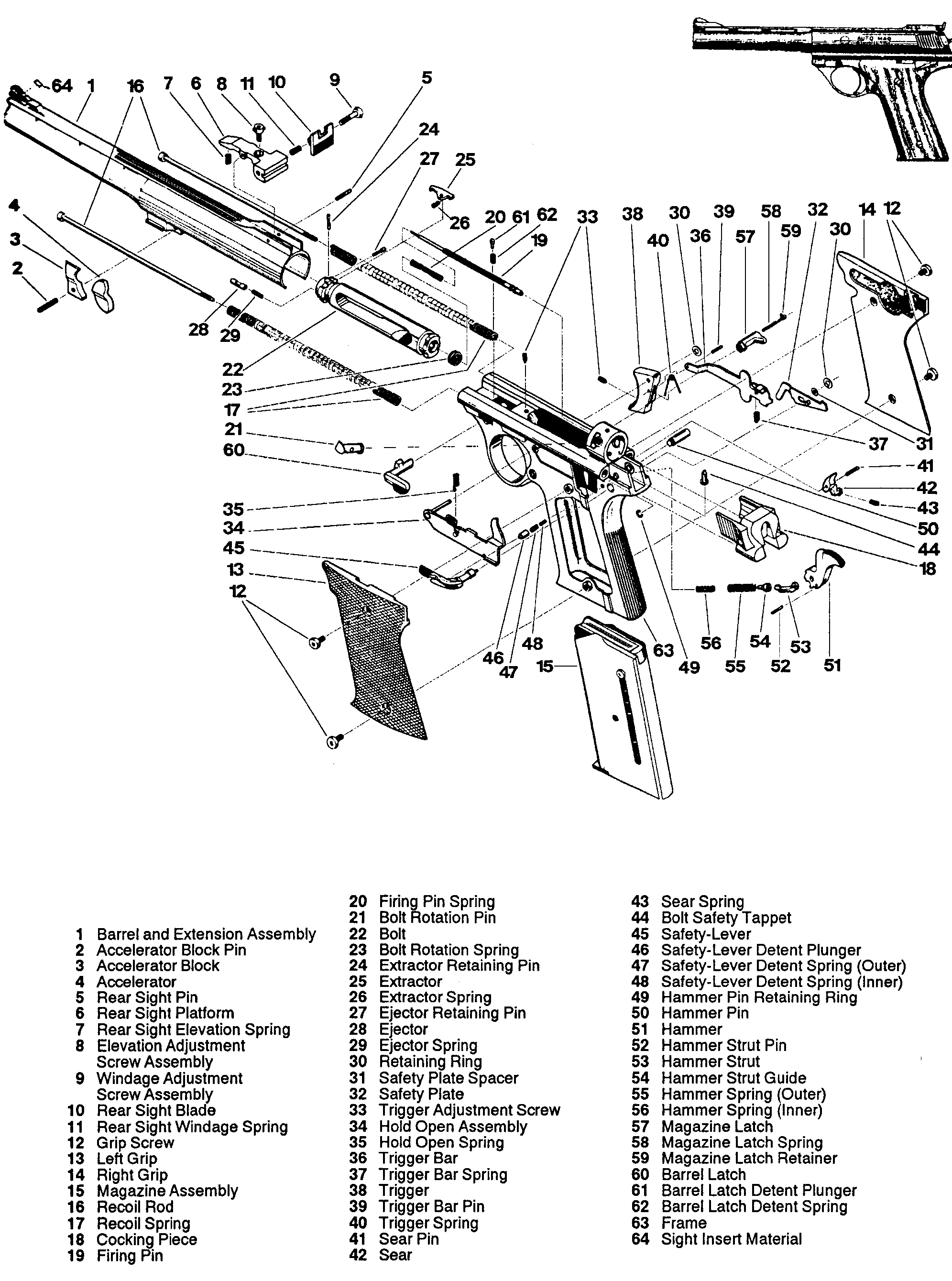 Misure 1911 Exploded Diagram Ordinance A1 Mag 180